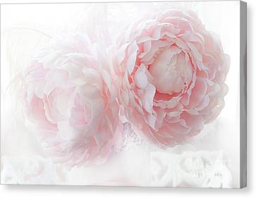 Dreamy Shabby Chic Baby Pink White Pastel Peonies - Romantic Baby Pink Peonies Decor Canvas Print by Kathy Fornal