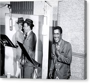Dean Martin, Frank Sinatra And Sammy Davis Jr. At Capitol Records Studios Canvas Print by The Titanic Project