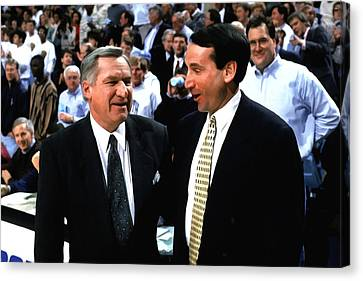 Dean Smith And Mike Krzyzewski Canvas Print by Brian Reaves