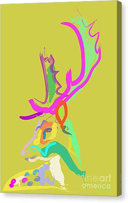 Canvas Print featuring the painting Dear Deer by Go Van Kampen