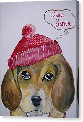 Canvas Print featuring the painting Dear Santa by Leslie Manley