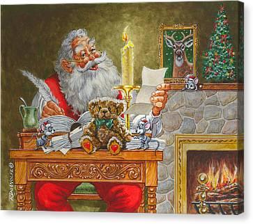 Dear Santa Canvas Print by Richard De Wolfe