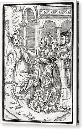 Death Comes For The Queen Woodcut By Canvas Print by Vintage Design Pics
