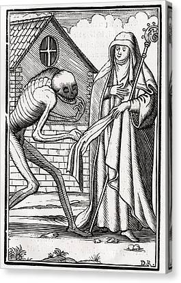 Death Comes To The Abbess From Der Canvas Print by Vintage Design Pics