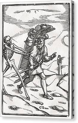 Death Comes To The Pedlar Woodcut By Canvas Print by Vintage Design Pics