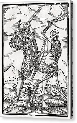 Death Comes To The Soldier Woodcut By Canvas Print by Vintage Design Pics