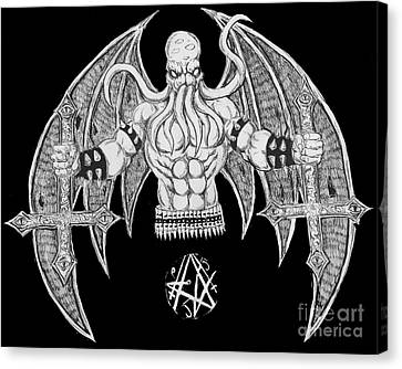 Horror Fantasy Movies Canvas Print - Death Metal Cthulhu Raw Version by Alaric Barca