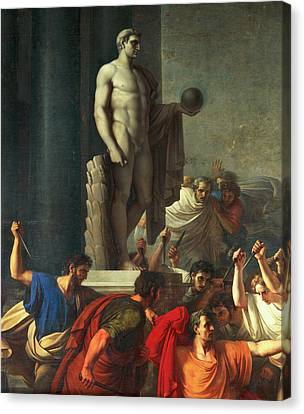Death Of Caesar, March 15, 44 Bc Canvas Print by Vincenzo Camuccini