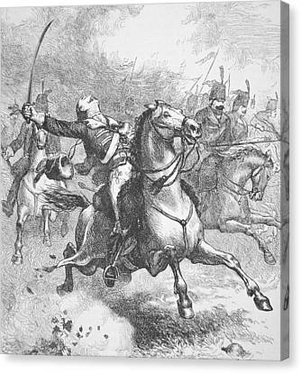 Death Of Count Casimir Pulaski Canvas Print by American School