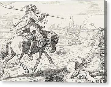Death On Horseback From Alfred Rethel S Canvas Print by Vintage Design Pics