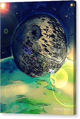 Death Star Illustration  Canvas Print by Justin Moore