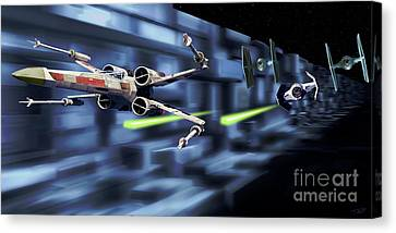 X-wing Canvas Print - Death Star Trench Battle  by Paul Tagliamonte