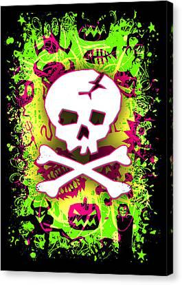 Deathrock Skull And Bones Canvas Print by Roseanne Jones