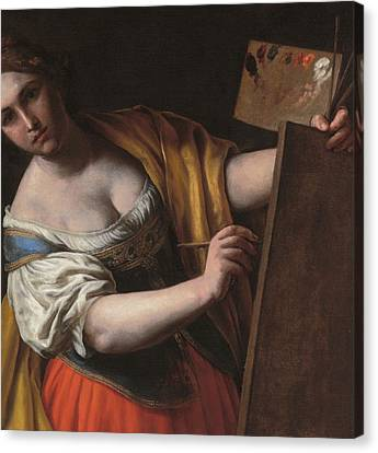 Artist At Easel Canvas Print - Deatil Of An Allegory Of Painting by Alessandro Turchi