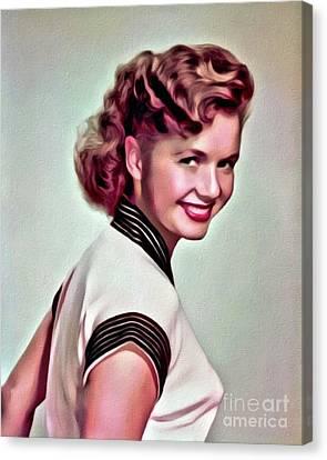 Debbie Reynolds, Hollywood Legend, Digital Art By Mary Bassett Canvas Print by Mary Bassett