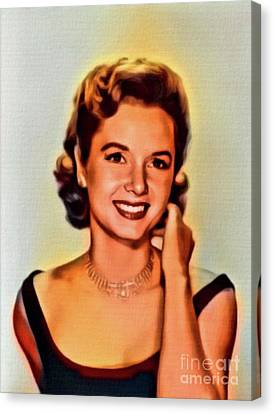 Debbie Reynolds, Vintage Actress. Digital Art By Mb Canvas Print by Mary Bassett
