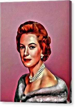 Deborah Kerr, Vintage Actress. Digital Art By Mary Bassett Canvas Print by Mary Bassett