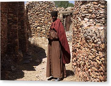 Rock-cut Canvas Print - Priest Of Debre Damo Monastery, Ethiopia by Aidan Moran