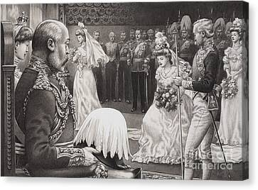 Debutantes Being Presented To Edward Vii And Queen Alexandra Canvas Print by Pat Nicolle