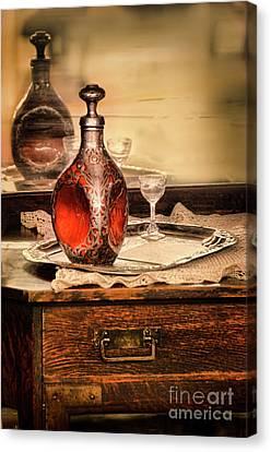 Decanter And Glass Canvas Print by Jill Battaglia