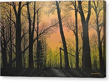December Dusk - Northern Hardwoods Canvas Print by Kathleen McDermott