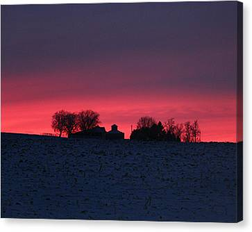 December Farm Sunset Canvas Print by Kathy M Krause