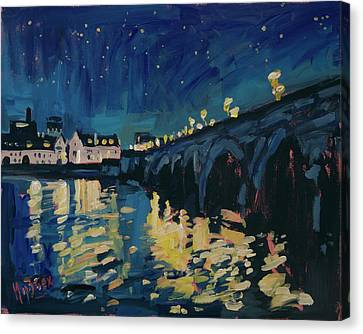 December Lights At The Old Bridge Canvas Print by Nop Briex