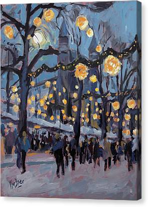 December Lights At The Our Lady Square Maastricht 1 Canvas Print by Nop Briex