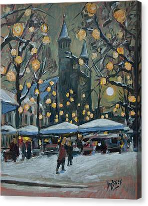 December Lights At The Our Lady Square Maastricht 2 Canvas Print by Nop Briex