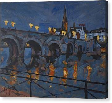 December Lights Old Bridge Maastricht Acryl Canvas Print