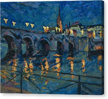 December Lights Old Bridge Maastricht Canvas Print by Nop Briex