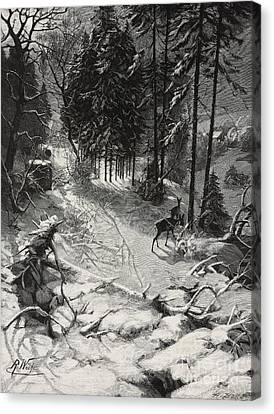 Countryside Canvas Print - December Night Snow Covered Wood by Richard Bong