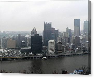 December Pittsburgh Canvas Print by David Bearden