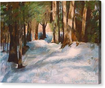 December Snow Path Canvas Print by Claire Gagnon