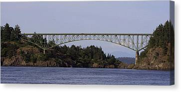 Deception Pass Brige Pano Canvas Print by Mary Gaines