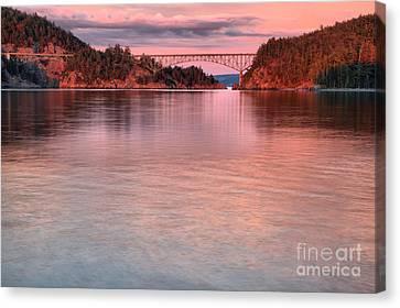 Deception Pass Pink Skies Canvas Print
