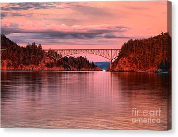 Oak Harbor Canvas Print - Deception Pass Sunset Reflections by Adam Jewell
