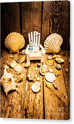 Backdrop Canvas Print - Deckchairs And Seashells by Jorgo Photography - Wall Art Gallery