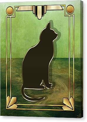 Canvas Print featuring the digital art Deco Cat 1 by Chuck Staley
