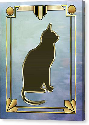 Canvas Print featuring the digital art Deco Cat 2 by Chuck Staley
