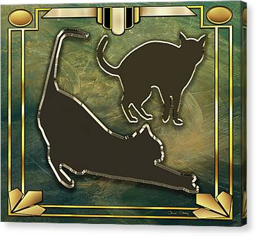 Canvas Print featuring the digital art Deco Cat Stretching by Chuck Staley