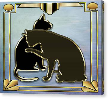 Canvas Print featuring the digital art Deco Cats - Blue by Chuck Staley