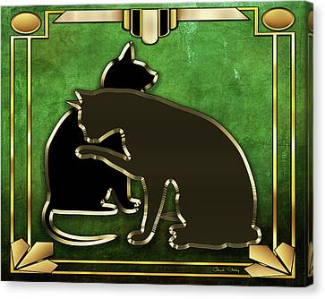 Canvas Print featuring the digital art Deco Cats - Emerald by Chuck Staley