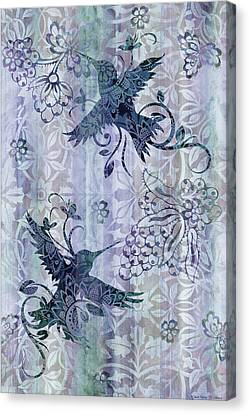 Deco Hummingbird Blue Canvas Print