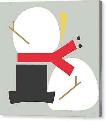 Deconstructed Snowman- Modern Art By Linda Woods Canvas Print by Linda Woods