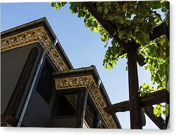 Decorated Eaves And Grapes Trellis - Old Town Plovdiv Bulgaria Canvas Print by Georgia Mizuleva