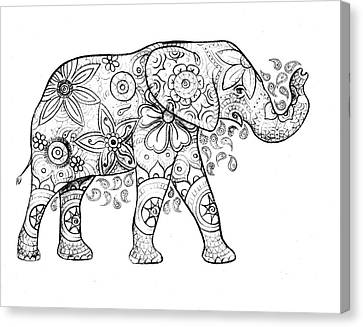 Decorated Elephant In Black And White Canvas Print