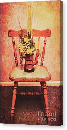 Decorated Flower Bunch On Old Wooden Chair Canvas Print by Jorgo Photography - Wall Art Gallery