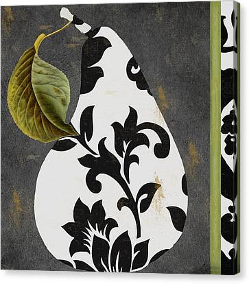 Tapestries - Textiles Canvas Print - Decorative Damask Pear I by Mindy Sommers
