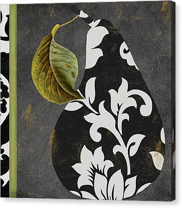 Decorative Damask Pear II Canvas Print by Mindy Sommers